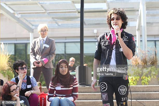 TORONTO ON OCTOBER 5 Wesley Williams non binary activist and former U of T student speak to the crowd at the Jordan Peterson protest/rally a...