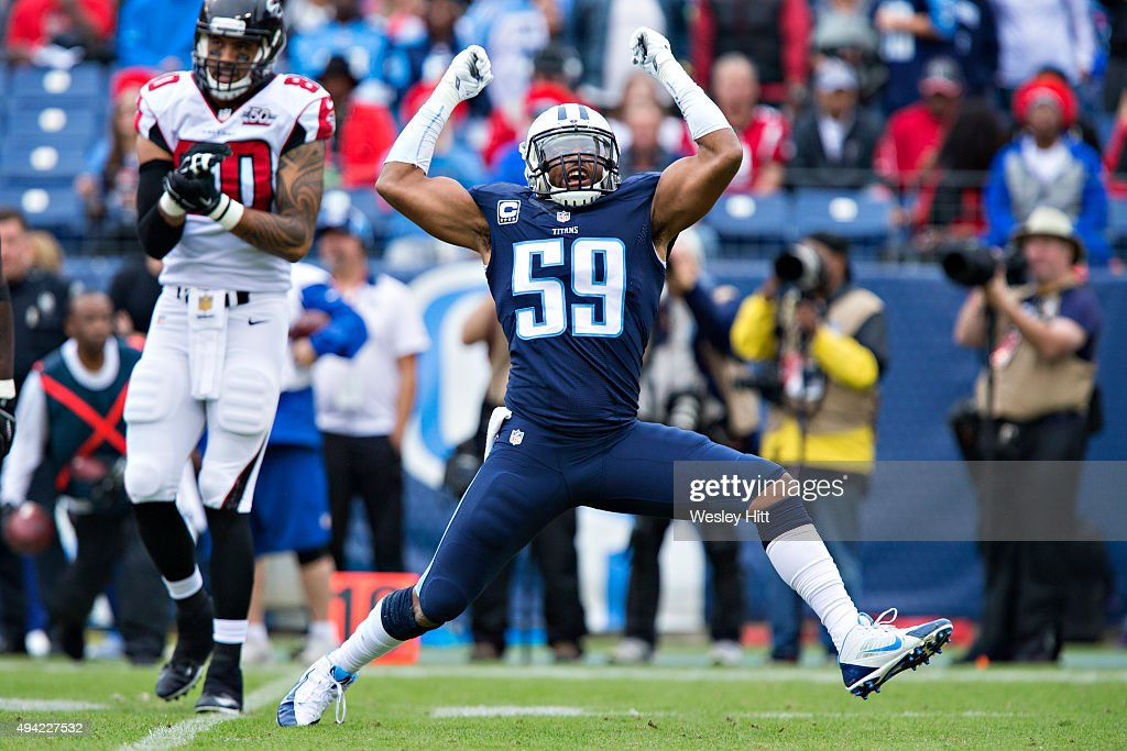 Wesley Woodyard #59 of the Tennessee Titans celebrates in the first half after making a big tackle during a game against the Atlanta Falcons at Nissan Stadium on October 25, 2015 in Nashville, Tennessee.