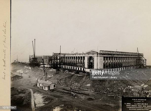 West and north walls of the west section Field Museum construction site Chicago Illinois November 30 1917