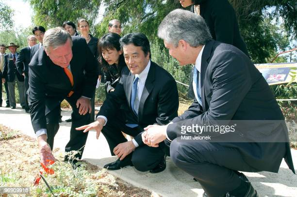West Australian Premier Colin Barnett Japan's Minister For Foreign Affairs Katsuya Okada and Australia Minister for Foreign Affairs Stephen Smith...