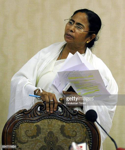 West Bengal Chief Minister Mamata Banerjee arrives to address her first press conference at Nabanna Howrah on May 27 2016 in Kolkata India Mamata...