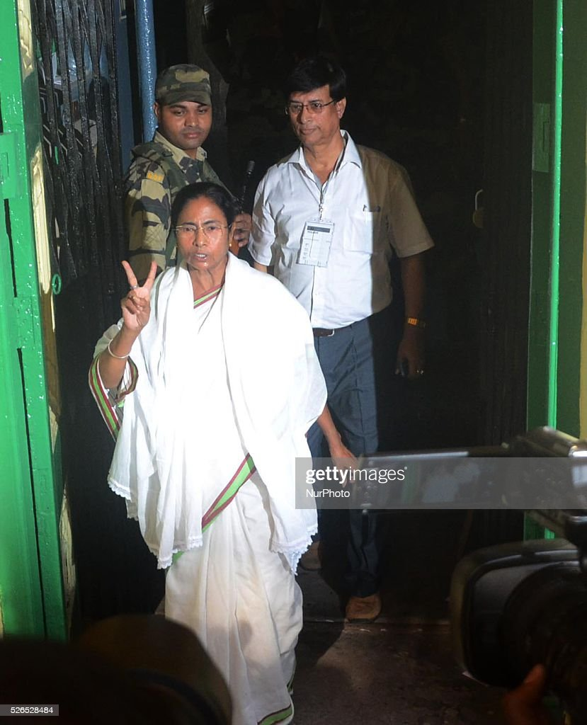 West Bengal Chief Minister Mamata Banerjee comes out from polling station after casting her vote in Kolkata, India on Saturday , 30th April , 2016. The fifth phase of state a assembly elections in West Bengal are taking place from April 4 to May 5, 2016.