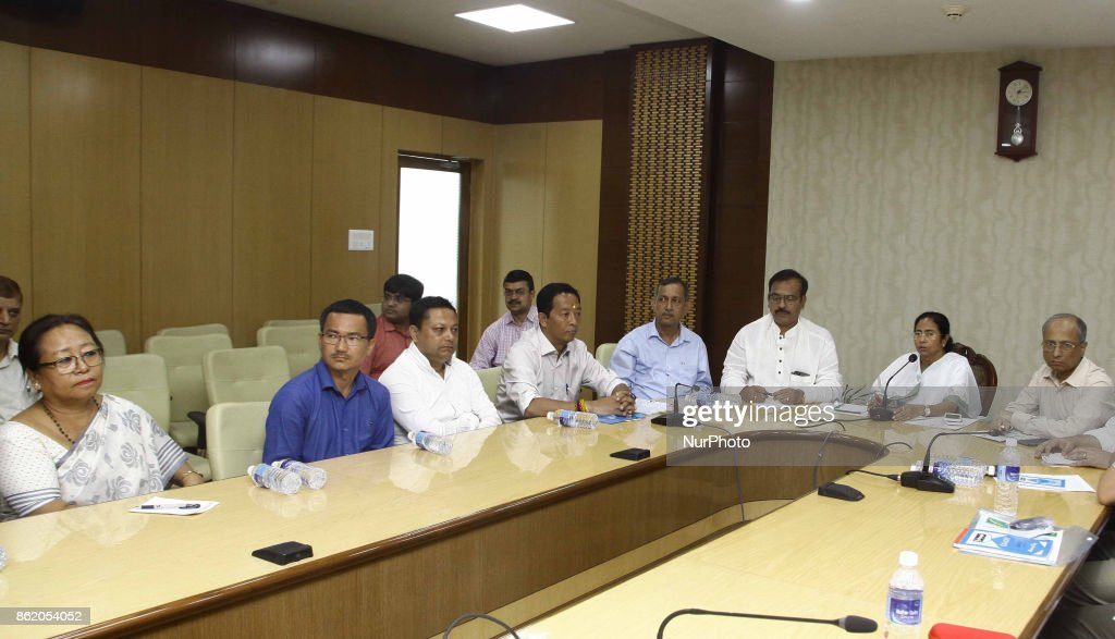 West Bengal Chief Minister Mamata Banerjee holding All Party Meeting regarding Darjeeling issue with Board of Administrator (BOA) for Darjeeling Chairman and Gorkha Jana Mukti Morcha (GJM) leader Binoy Tamang and others at Nabanna (State Secretariat office) on October 16,2017 in Kolkata,India.