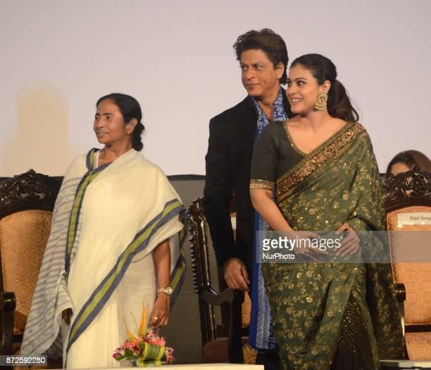 West Bengal Chief minister Mamata Banerjee Indian Actor Shah Rukh Khan and Kajol sharing moments during the inauguration ceremony of 23rd Kolkata...