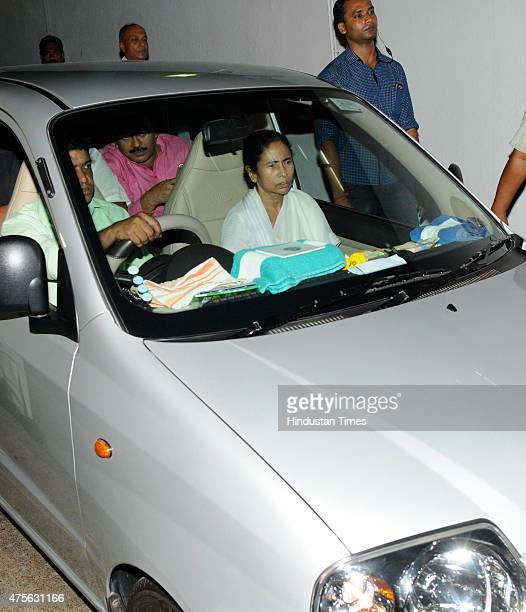 West Bengal Chief Minister Mamata Banerjee outside Belle Vue Clinic after the death of Bijoya Ray widow of filmmaker Satyajit Ray on June 2 2015 in...