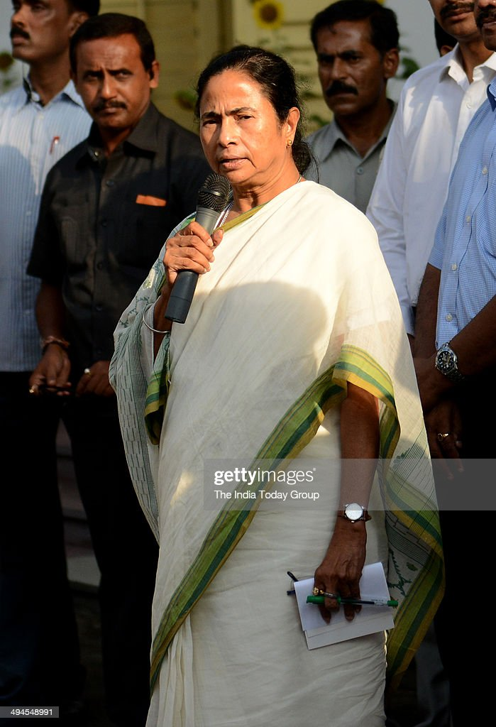 West Bengal Chief MInister <a gi-track='captionPersonalityLinkClicked' href=/galleries/search?phrase=Mamata+Banerjee&family=editorial&specificpeople=585449 ng-click='$event.stopPropagation()'>Mamata Banerjee</a> speaks after a review meeting on completion of 3 years of her government in the state on May 28, in Kolkata, India , Town Hall.