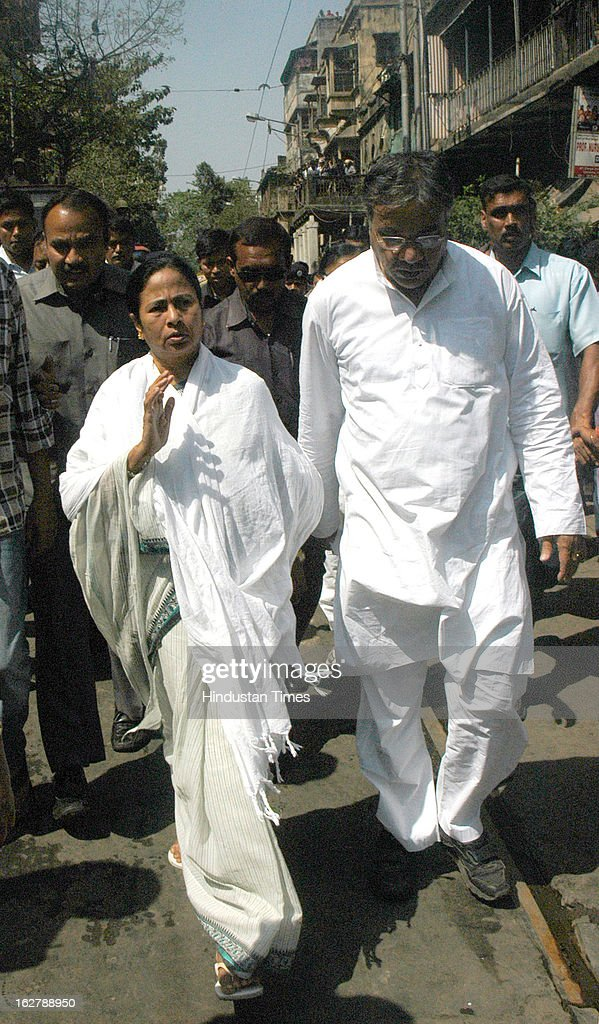 West Bengal Chief Minister Mamata Banerjee visits the incident place after fire engulfed a multi-storey market complex at Sealdah on February 27, 2013 in Kolkata, India. At least 19 people were killed in it. A dozen people were also critically injured in the fire that broke out at about 3 am at Sealdah in Central Kolkata, when many victims (Labours & shop keepers) were asleep. Even as 26 fire tenders battled the leaping flames and firemen scrambled to rescue people, many were feared trapped inside the market that houses plastic items, thermocol and paper godowns.