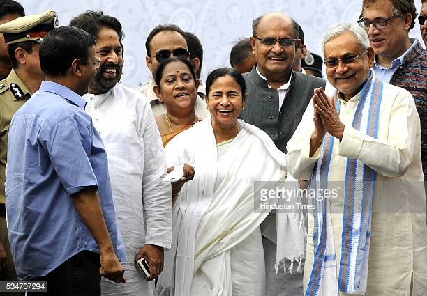 West Bengal Chief Minister Mamata Banerjee with Delhi Chief Minister Arvind Kejriwal and Bihar Chief Minister Nitish Kumar during her swearingin...