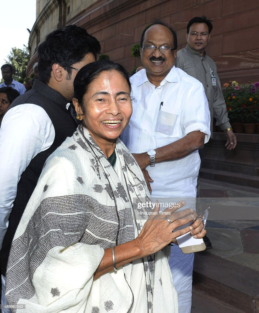 West Bengal Chief Minister Mamta Banerjee with her party MPs coming out after meeting with Prime Minister Narendra Modi (not in pic) at Parliament on March 9, 2015 in New Delhi, India. Prime Minister assured West Bengal Chief Minister that the Centre will leave no stone unturned in aiding the development of the state. It is Banerjees first meeting with Modi after he became Prime Minister comes against the backdrop of acrimony between her party Trinamool Congress and BJP.