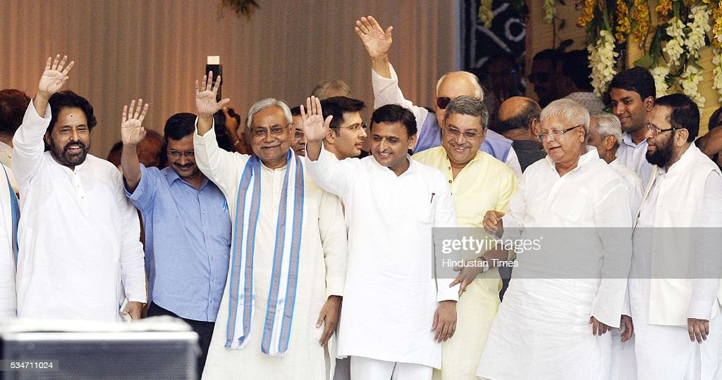 West Bengal minister Sudip Bandyopadhyay, Delhi Chief Minister Arvind Kejriwal, Bihar Chief Minister Nitish Kumar, RJD Chief Lalu Yadav, Uttar Pradesh Chief Minister Akhilesh Yadav during oath taking ceremony of West Bengal Chief Minister Mamata Banerjee on May 27, 2016 in Kolkata, India. The presence of prominent Non-BJP Non-Congress party leaders like Arvind Kejriwal, Nitish Kumar, Lalu Yadav, Akhilesh Yadav gave air to formation of major Anti-Modi block in 2019.