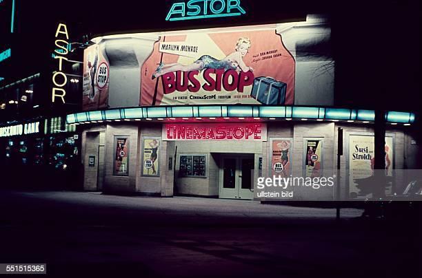 West Berlin neon signs at Astor cinema at Kurfuerstendamm in Berlin Charlottenburg