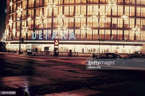 West Berlin neon signs at DEFAKA department store at Kurfuerstendamm in Berlin Charlottenburg