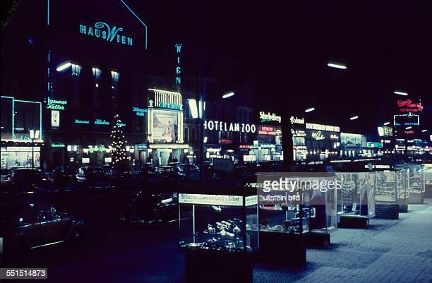 West Berlin neon signs at Kurfuerstendamm in Berlin Charlottenburg