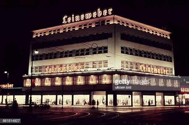 West Berlin neon signs at Leineweber department store at Joachimstaler Strasse in Berlin Charlottenburg