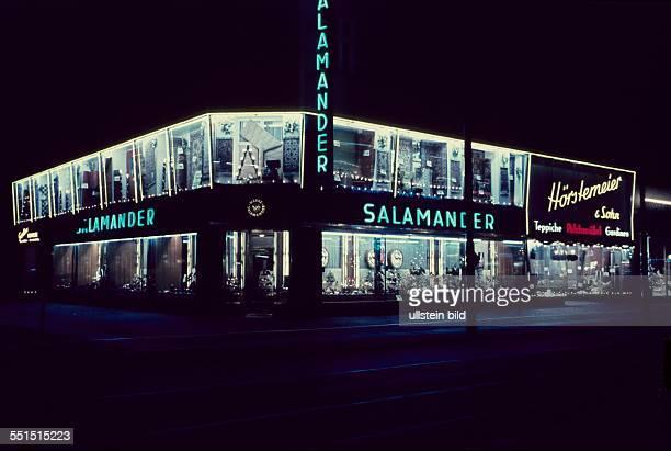 West Berlin neon signs at Salamander shoe shop at Kurfuerstendamm in Berlin Charlottenburg