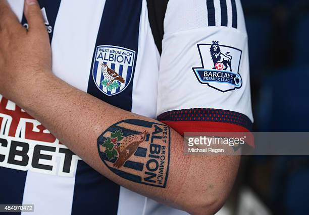 West Brom fan displays his tattoo prior to the Barclays Premier League match between West Bromwich Albion and Chelsea at The Hawthorns on August 23...