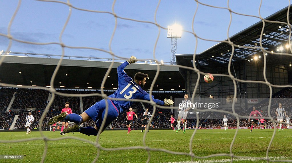 West Brom goalkeeper Boaz Myhill is beaten by Peterborough player Jon Taylor (not pictured) for the second Peterborough goal during The Emirates FA Cup Fourth Round match between West Bromwich Albion and Peterborough United at The Hawthorns on January 30, 2016 in West Bromwich, England.