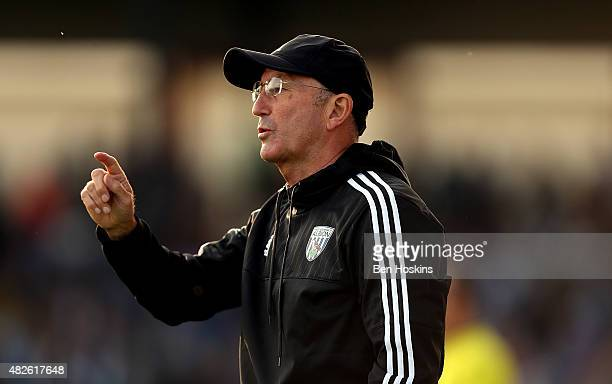 West Brom manager Tony Pulis gives instructions during a pre season friendly match between Bristol Rovers and West Bromwich Albion at Memorial...
