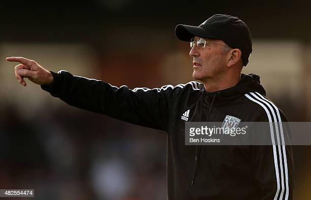 West Brom manager Tony Pulis gives instructions during the pre season friendly match between Bristol Rovers and West Bromwich Albion at Memorial...