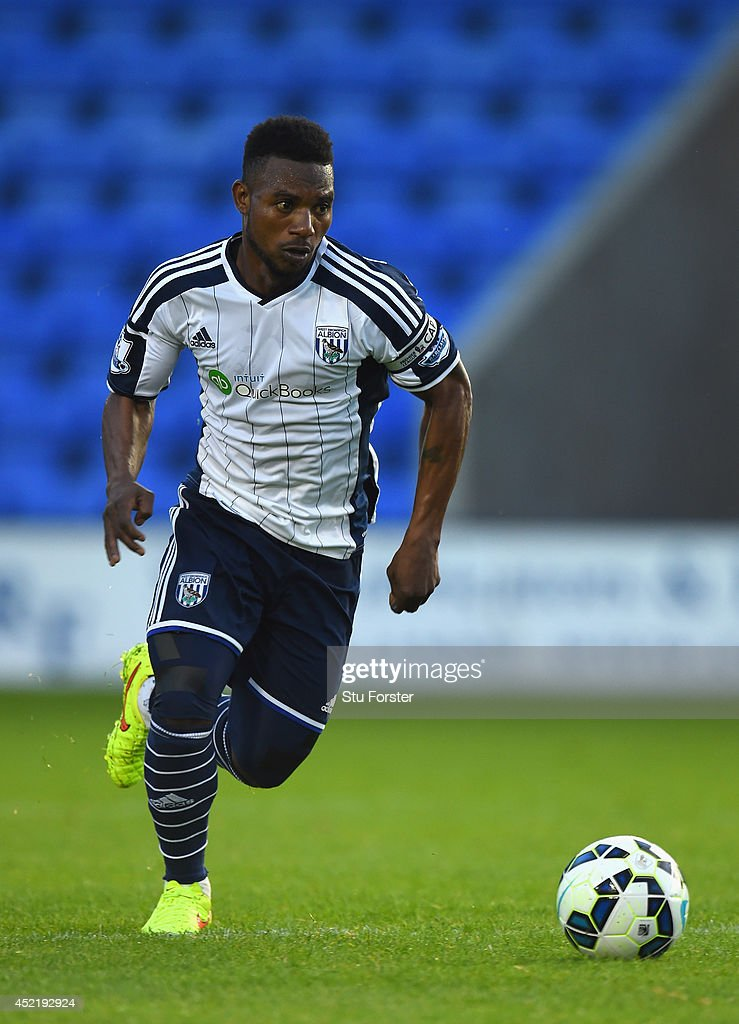 West Brom player Stephane Sessegnon in action during a pre season friendly between Shrewsbury Town and West Bromwich Albion at Greenhous Meadow on July 15, 2014 in Shrewsbury, England.