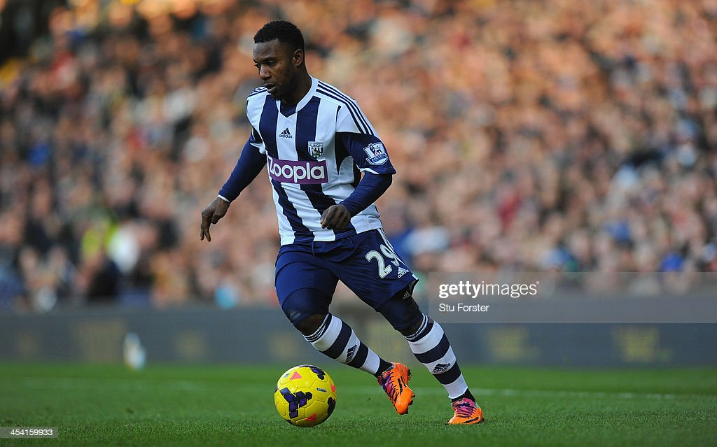 West Brom player Stephane Sessegnon in action during the Barclays Premier League match between West Bromwich Albion and Norwich City at The Hawthorns on December 7, 2013 in West Bromwich, England.