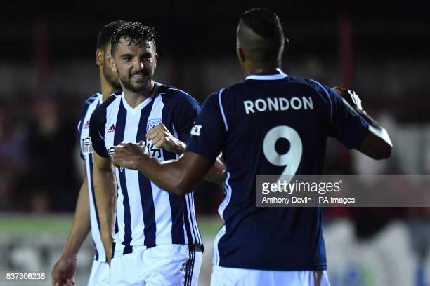 West Brom's Jay Rodriguez celebrates scoring the third goal during the Carabao Cup Second Round match at the Wham Stadium Accrington