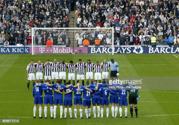 West Bromwich Albion and Everton players lineup to observe a minute's silence for the Pope