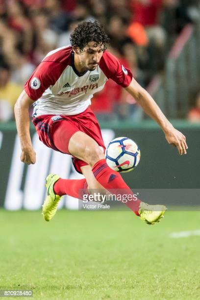 West Bromwich Albion defender Ahmed Hegazy in action during the Premier League Asia Trophy match between West Brom and Crystal Palace at Hong Kong...
