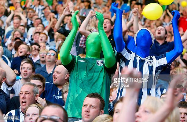 West Bromwich Albion fans celebrate during the CocaCola Championship match between West Bromwich Albion and Middlesbrough at The Hawthorns on April...