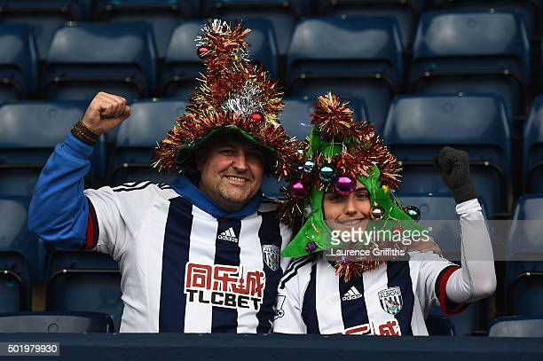 West Bromwich Albion fans soak up the Christmas atmosphere prior to the Barclays Premier League match between West Bromwich Albion and AFC...