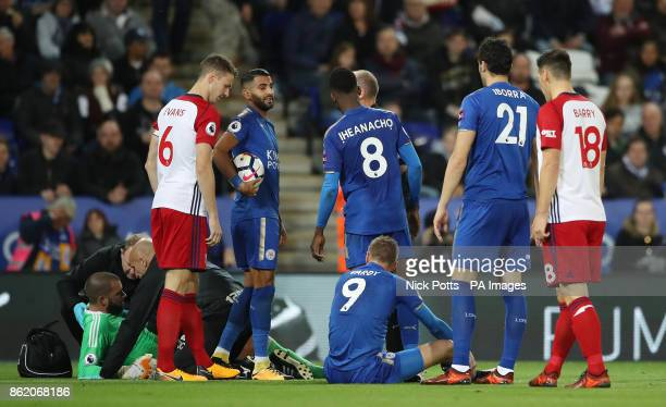 West Bromwich Albion goalkeeper Boaz Myhill receives treatment after colliding with Leicester City's Jamie Vardy during the Premier League match at...