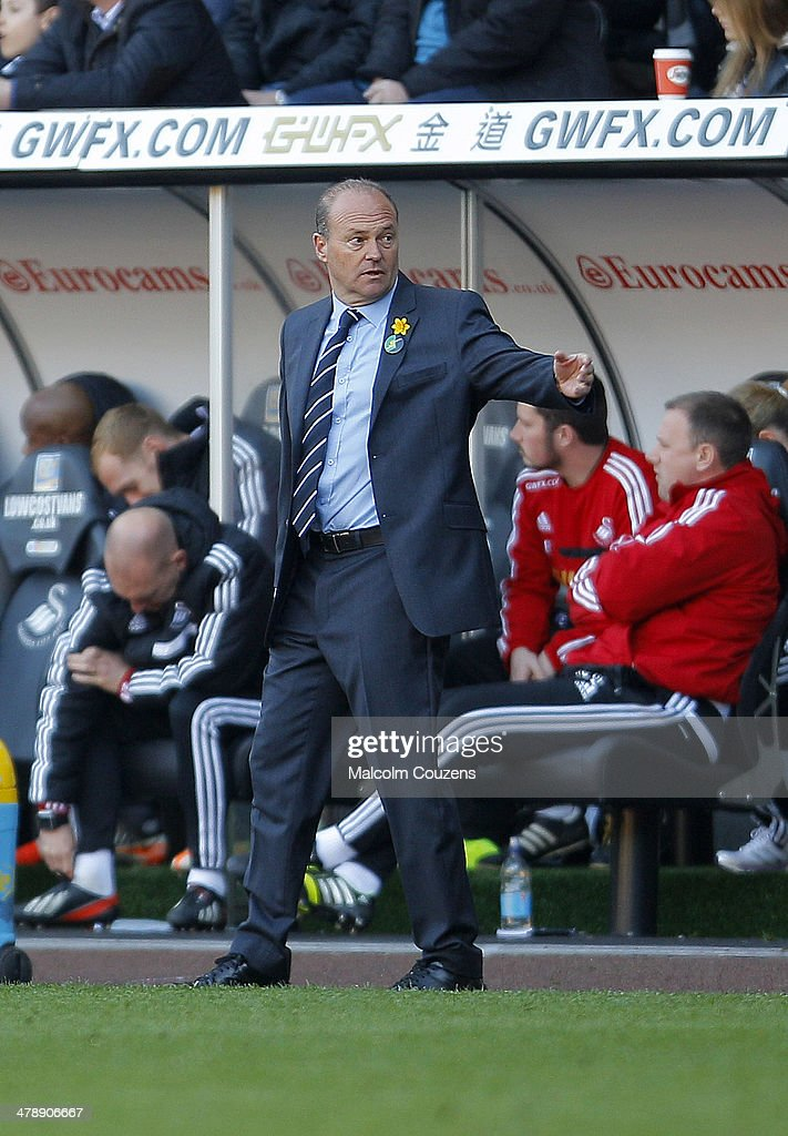 West Bromwich Albion manager Pepe Mel looks on during the Barclays Premier League match between Swansea City and West Bromwich Albion at The Liberty Stadium on March 15, 2014 in Swansea, Wales.