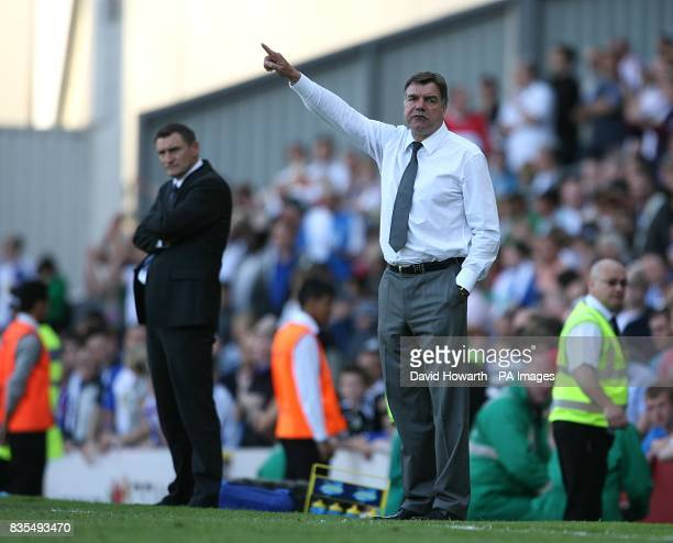 West Bromwich Albion manager Tony Mowbray and Blackburn Rovers manager Sam Allardyce on the touchline