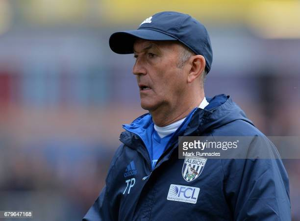 West Bromwich Albion manager Tony Pulis during the Premier League match between Burnley and West Bromwich Albion at Turf Moor on May 6 2017 in...