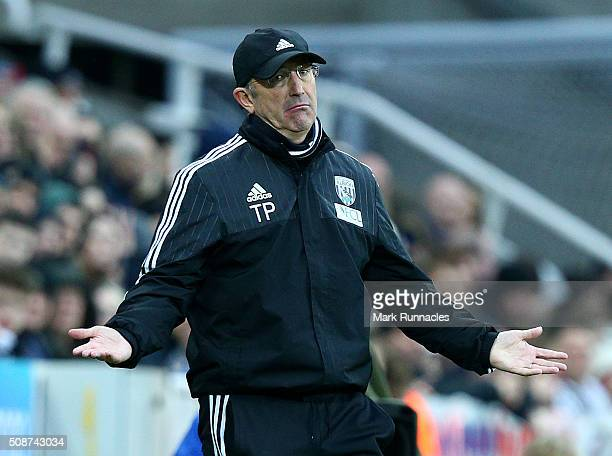 West Bromwich Albion manager Tony Pulis reacts on the touch line during the Barclays Premier League match between Newcastle United FC and West...
