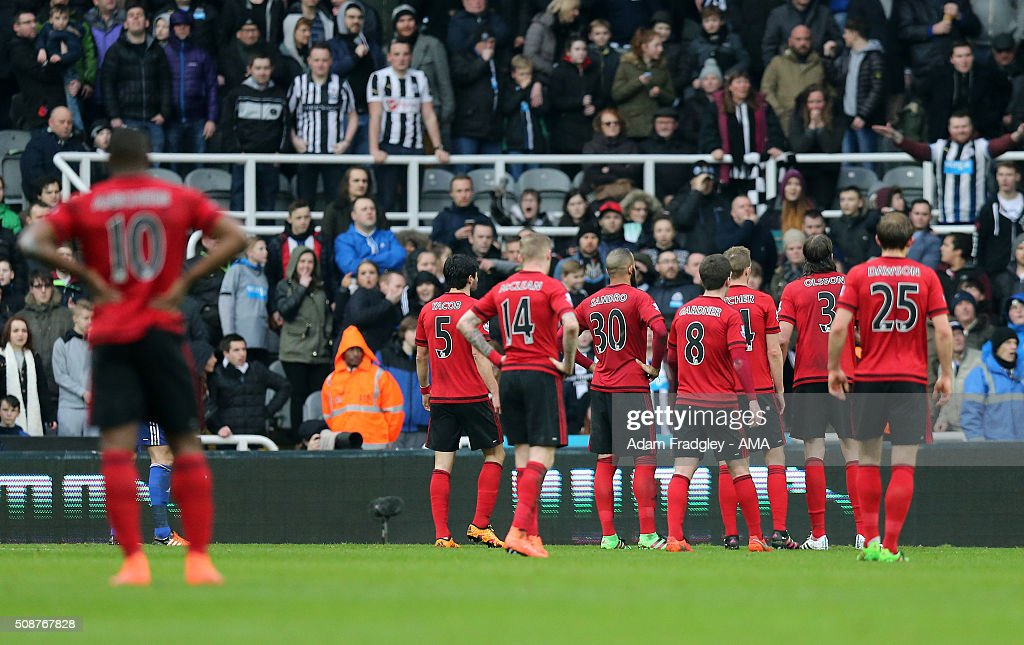West Bromwich Albion players wait to see if a first half goal scored by Cheick Tiote of Newcastle United would be allowed during the Barclays Premier League match between Newcastle United and West Bromwich Albion at St. James Park on February 06, 2016 in Newcastle-upon-Tyne, England.