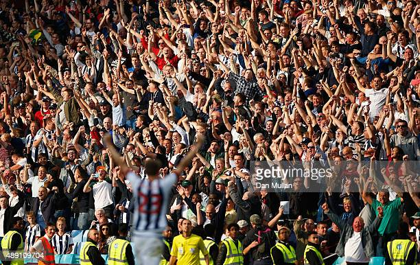 West Bromwich Albion supporters celebrate their team's 10 in the Barclays Premier League match between Aston Villa and West Bromwich Albion at Villa...