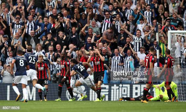 West Bromwich Albion's Ahmed Hegazy celebrates scoring his side's first goal of the game during the Premier League match at The Hawthorns West...
