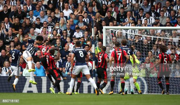 West Bromwich Albion's Ahmed Hegazy scores his side's first goal of the game during the Premier League match at The Hawthorns West Bromwich