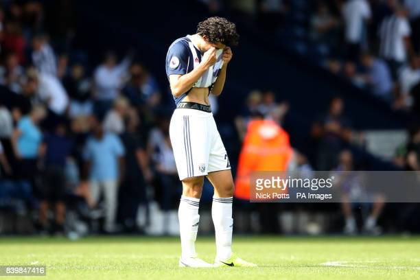 West Bromwich Albion's Ahmed Hegazy shows his frustration after the final whistle of the Premier League match at The Hawthorns West Bromwich