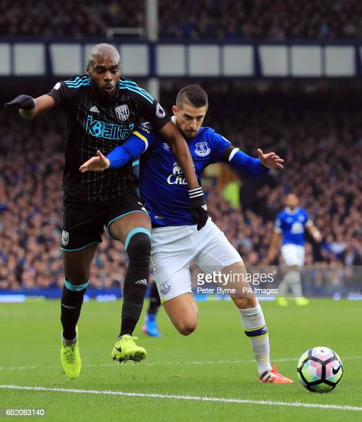 West Bromwich Albion's Allan Nyom and Everton's Kevin Mirallas battle for the ball during the Premier League match at Goodison Park Liverpool