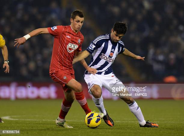 West Bromwich Albion's Claudio Yacob and Southampton's Morgan Schneiderlin battle for the ball