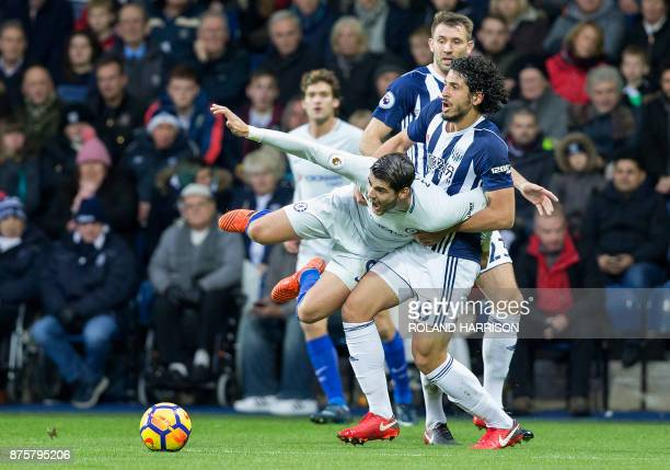 TOPSHOT West Bromwich Albion's Egyptian defender Ahmed Hegazy vies with Chelsea's Spanish striker Alvaro Morata during the English Premier League...