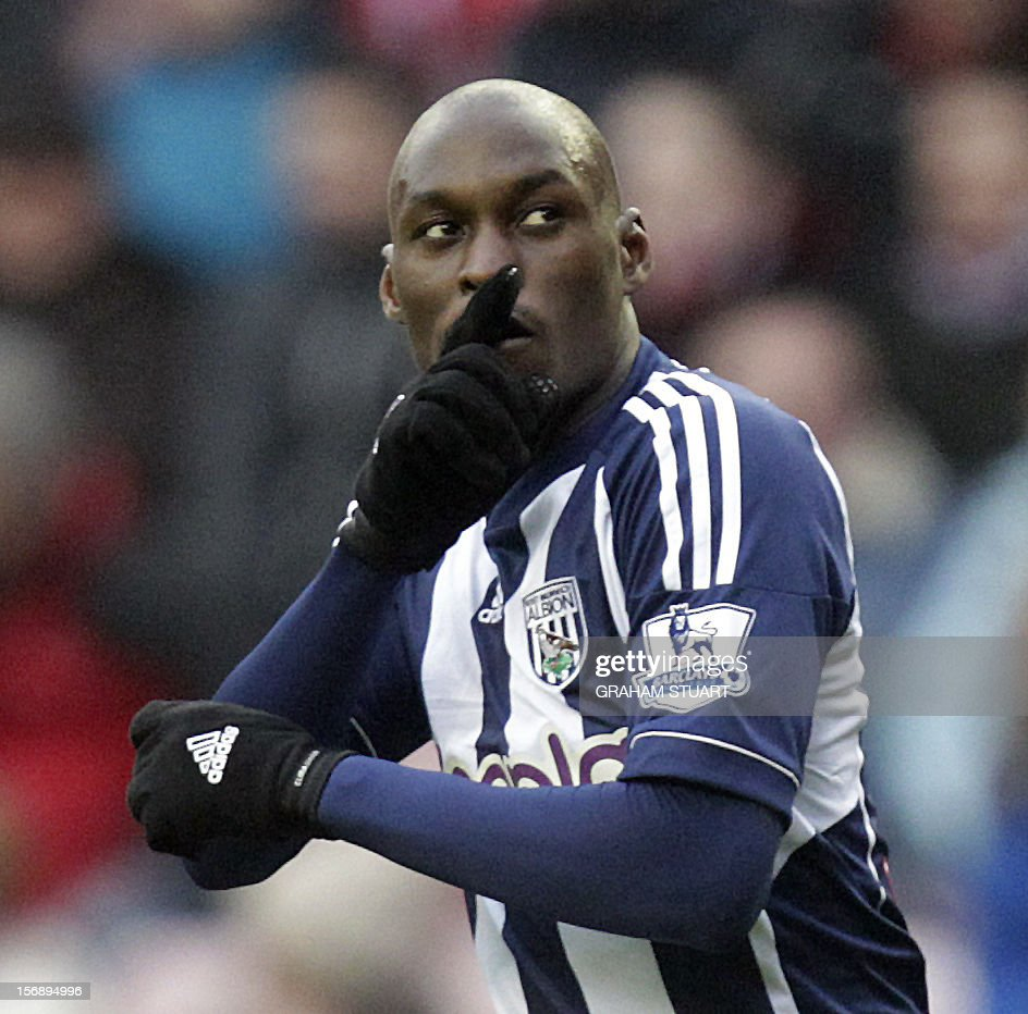 """West Bromwich Albion's French striker, Marc-Antonie Fortune celebrates scoring his team's fourth goal against Sunderland during their English Premier League football match at the Stadium of Light in Sunderland, north-east England, on November 24, 2012. USE. No use with unauthorized audio, video, data, fixture lists, club/league logos or """"live"""" services. Online in-match use limited to 45 images, no video emulation. No use in betting, games or single club/league/player publications"""