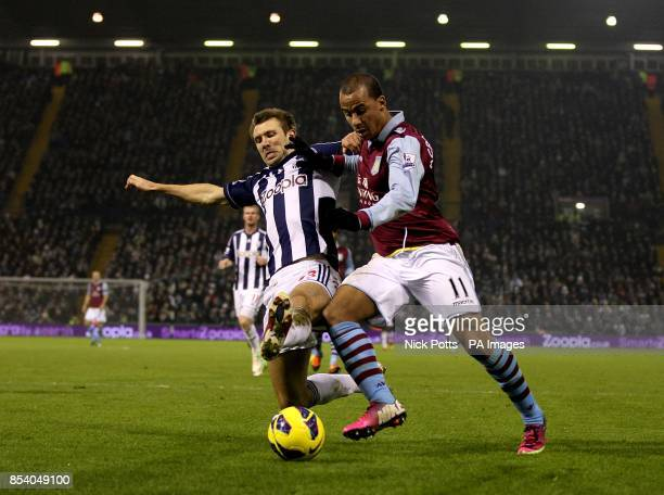 West Bromwich Albion's Gareth McAuley and Aston Villa's Gabriel Agbonlahor battle for the ball