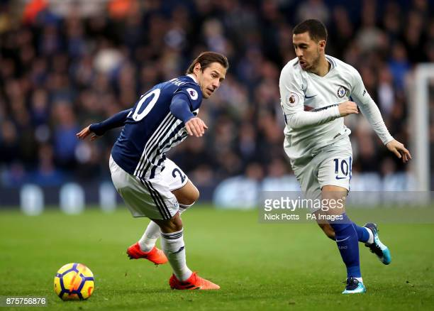 West Bromwich Albion's Grzegorz Krychowiak and Chelsea's Eden Hazard battle for the ball during the Premier League match at The Hawthorns West...