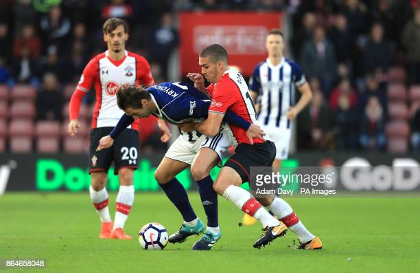 West Bromwich Albion's Grzegorz Krychowiak and Southampton's Oriol Romeu battle for the ball during the Premier League match at St Mary's Stadium...