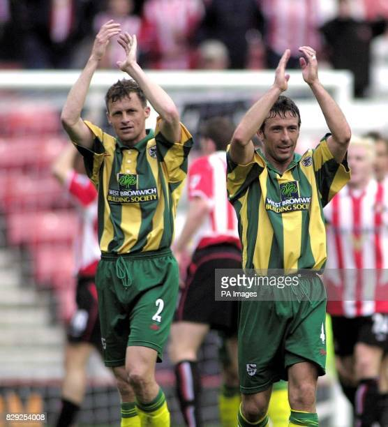 West Bromwich Albion's Igor Balis and Derek Mcinnes salute their side after they won 21 at Sunderland only to find themselves relegated in the...