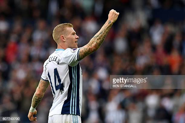 West Bromwich Albion's Irish midfielder James McClean celebrates after scoring their third goal during the English Premier League football match...