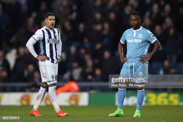 West Bromwich Albion's Jake Livermore and Stoke City's Saido Berahino during the Premier League match at The Hawthorns West Bromwich